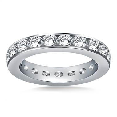 Classic Channel Set Round Diamond Eternity Ring in 18K White Gold (1.90 - 2.30 cttw.)
