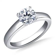 Classic Comfort Fit Tapered Solitaire Engagement Ring in 18K White Gold (3.2 mm) | B2C Jewels