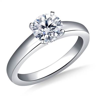 Classic Comfort Fit Tapered Solitaire Engagement Ring in 18K White Gold (3.2 mm)