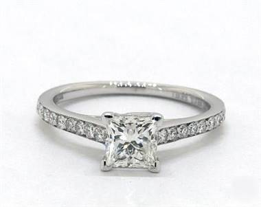 Classic Crossover Trellis Pave Engagement Ring in Platinum 2.3mm Width Band (Setting Price)