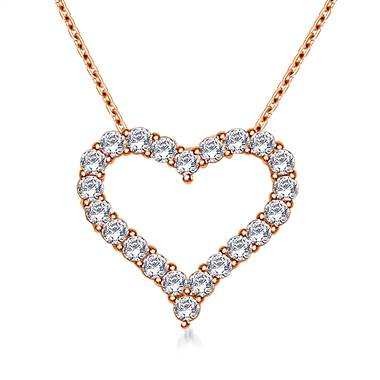 Classic Diamond Heart Pendant in 14K Rose Gold (1/2 cttw.)