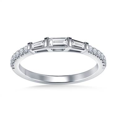 Classic Diamond Wedding Band Prong Set Half Way in Platinum (3/8 cttw.)