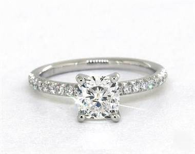 Classic French Cut Petite Pave Engagement Ring in 18K White Gold 4mm Width Band (Setting Price)
