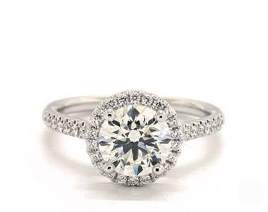 Classic Halo Pave .23ctw Engagement Ring in 14K White Gold 1.8mm Width Band (Setting Price)
