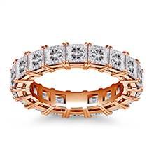 Classic Prong Set Princess Cut Diamond Eternity Ring in 18K Rose Gold (4.86 - 5.67 cttw.) | B2C Jewels