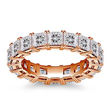 Classic Prong Set Princess Cut Diamond Eternity Ring in 18K Rose Gold (4.86 - 5.67 cttw.)