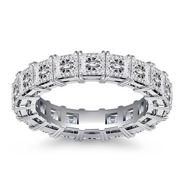 Classic Prong Set Princess Cut Diamond Eternity Ring in 18K White Gold (4.86 - 5.67 cttw.)