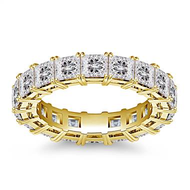 Classic Prong Set Princess Cut Diamond Eternity Ring in 18K Yellow Gold (4.86 - 5.67 cttw)