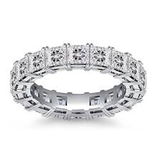 Classic Prong Set Princess Cut Diamond Eternity Ring in Platinum (4.86 - 5.67 cttw.) | B2C Jewels