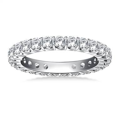 Classic Prong Set Round Diamond Eternity Ring in 14K White Gold (1.20 - 1.40 cttw.)