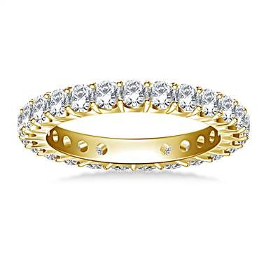 Classic Prong Set Round Diamond Eternity Ring in 14K Yellow Gold (1.20 - 1.40 cttw.)