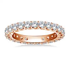 Classic Prong Set Round Diamond Eternity Ring in 18K Rose Gold (1.20 - 1.40 cttw.) | B2C Jewels