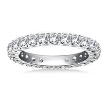 Classic Prong Set Round Diamond Eternity Ring in 18K White Gold (1.20 - 1.40 cttw.) | B2C Jewels