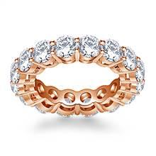 Classic Round Cut Diamond Eternity Ring in 18K Rose Gold (5.25 - 5.95 cttw.) | B2C Jewels