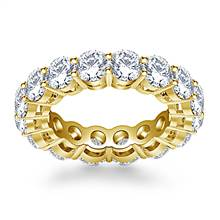 Classic Round Cut Diamond Eternity Ring in 18K Yellow Gold (5.25 - 5.95 cttw.) | B2C Jewels