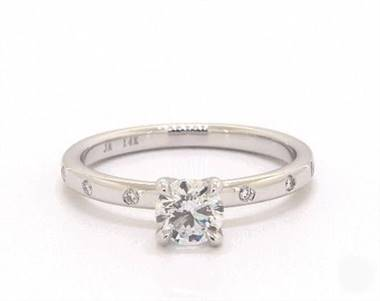 Classic Rounded Shank & Diamond Accented Engagement Ring in Platinum 4mm Width Band (Setting Price)