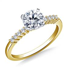 Classic Solitaire Diamond Accent Engagement Ring in 14K Yellow Gold (1/8 cttw.) | B2C Jewels