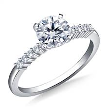 Classic Solitaire Diamond Accent Engagement Ring in 18K White Gold (1/8 cttw.) | B2C Jewels