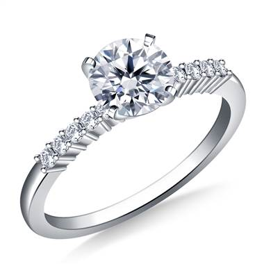 Classic Solitaire Diamond Accent Engagement Ring in 18K White Gold (1/8 cttw.)