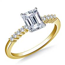 Classic Solitaire Diamond Accent Engagement Ring in 18K Yellow Gold (1/8 cttw.) | B2C Jewels