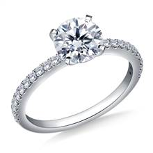 Classic Split Prong Set Round Diamond Ring in 18K White Gold (1/4 cttw.) | B2C Jewels