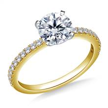 Classic Split Prong Set Round Diamond Ring in 18K Yellow Gold (1/4 cttw.) | B2C Jewels