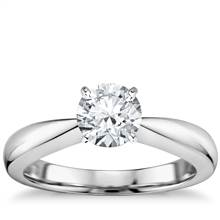 Classic Tapered Solitaire Engagement Ring in 18k White Gold | Blue Nile