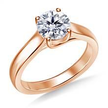 Classic Trellis Round Solitaire Diamond Ring in 14K Rose Gold | B2C Jewels