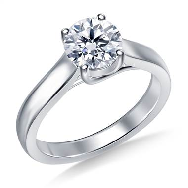 Classic Trellis Round Solitaire Diamond Ring in 14K White Gold