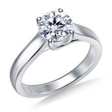 Classic Trellis Round Solitaire Diamond Ring in 18K White Gold | B2C Jewels