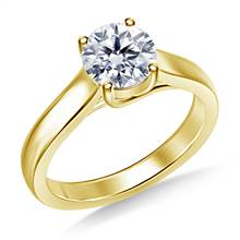 Classic Trellis Round Solitaire Diamond Ring in 18K Yellow Gold | B2C Jewels