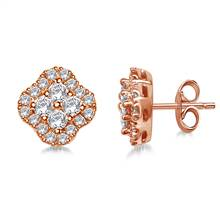 Clover Diamond Stud Earrings in 14K Rose Gold (1/2 cttw) | B2C Jewels