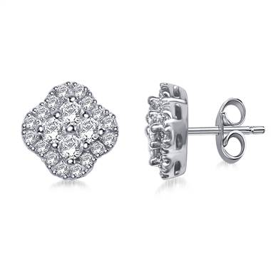 Clover Diamond Stud Earrings in 14K White Gold (1/2 cttw)