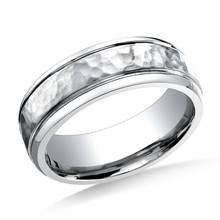 Cobaltchrome 7mm Comfort-Fit Hammered-Finished Design Ring | B2C Jewels
