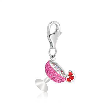 Cocktail Glass Charm with Pink and Red Crystals in Sterling Silver