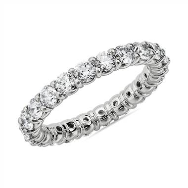 """Comfort Fit Round Brilliant Diamond Eternity Ring in 14k White Gold (2 ct. tw.)"""