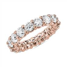 Comfort Fit Round Brilliant Diamond Eternity Ring in 18k Rose Gold (4 ct. tw.) | Blue Nile