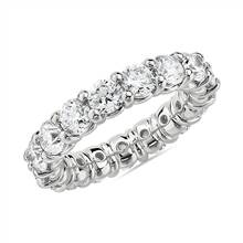 Comfort Fit Round Brilliant Diamond Eternity Ring in 18k White Gold (4 ct. tw.) | Blue Nile