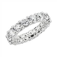 Comfort Fit Round Brilliant Diamond Eternity Ring in 18k White Gold (5 ct. tw.) | Blue Nile