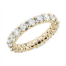 Comfort Fit Round Brilliant Diamond Eternity Ring in 18k Yellow Gold (3 ct. tw.) | Blue Nile