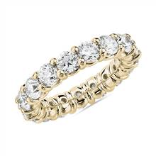 Comfort Fit Round Brilliant Diamond Eternity Ring in 18k Yellow Gold (4 ct. tw.) | Blue Nile