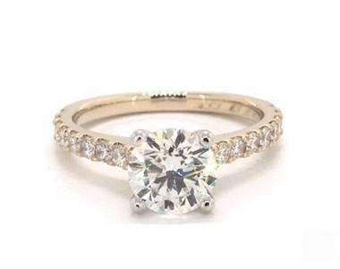 Common Prong Diamond Side Stone Engagement Ring in 2.2mm 14K Yellow Gold (Setting Price)