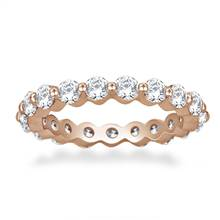 Common Prong Round Diamond Eternity Ring in 18K Rose Gold (1.26 -1.47 cttw) | B2C Jewels