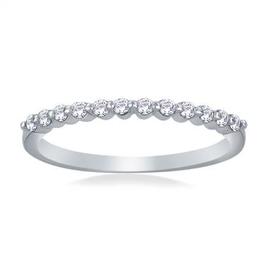 Common Prong Set Diamond Band in 18K White Gold (1/4 cttw)