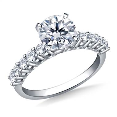 Common Prong Set Diamond Encrusted Engagement Ring in 14K White Gold (1/2 cttw.)