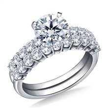 Common Prong Set Diamond Encrusted Ring with Matching Band in 18K White Gold (1 1/5 cttw.) | B2C Jewels