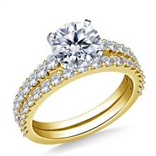 Common Prong Set Graduated Diamond Ring with Matching Band in 18K Yellow Gold (1.00 cttw.) | B2C Jewels