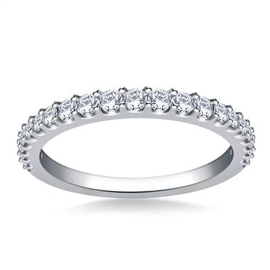 Common Prong Set Graduated Round Diamond Band in 18K White Gold (1/2 cttw.)