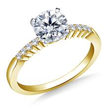 Common Prong Set Round Diamond Engagement Ring in 14K Yellow Gold (1/10 cttw) | B2C Jewels