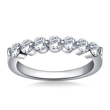 Common Prong Seven Stone Round Diamond Band in 14K White Gold (1.00 cttw.)